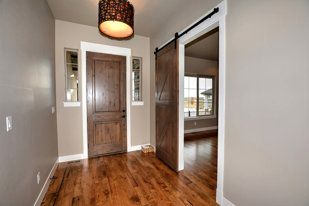 Front entrance and sliding barn door