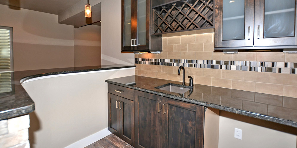 Basement wet bar tile and sink