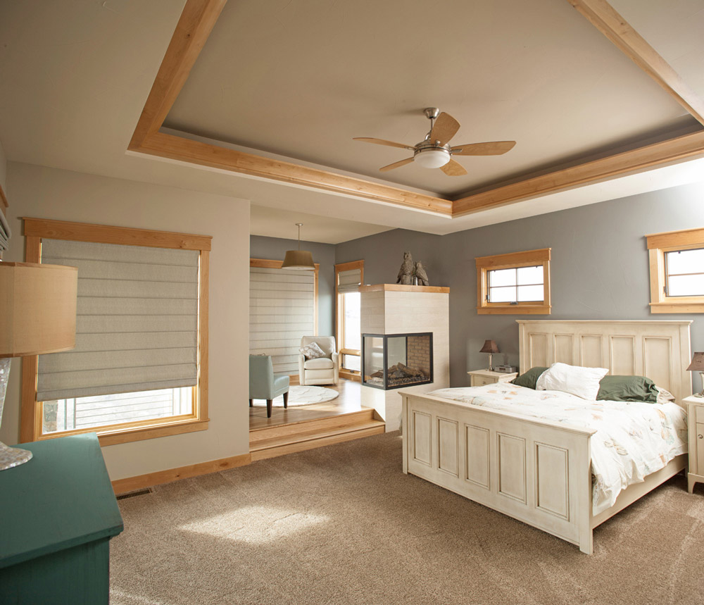 Master bedroom with ceiling soffit details