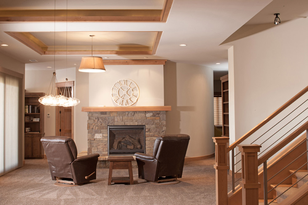 Basement fireplace and ceiling soffit details