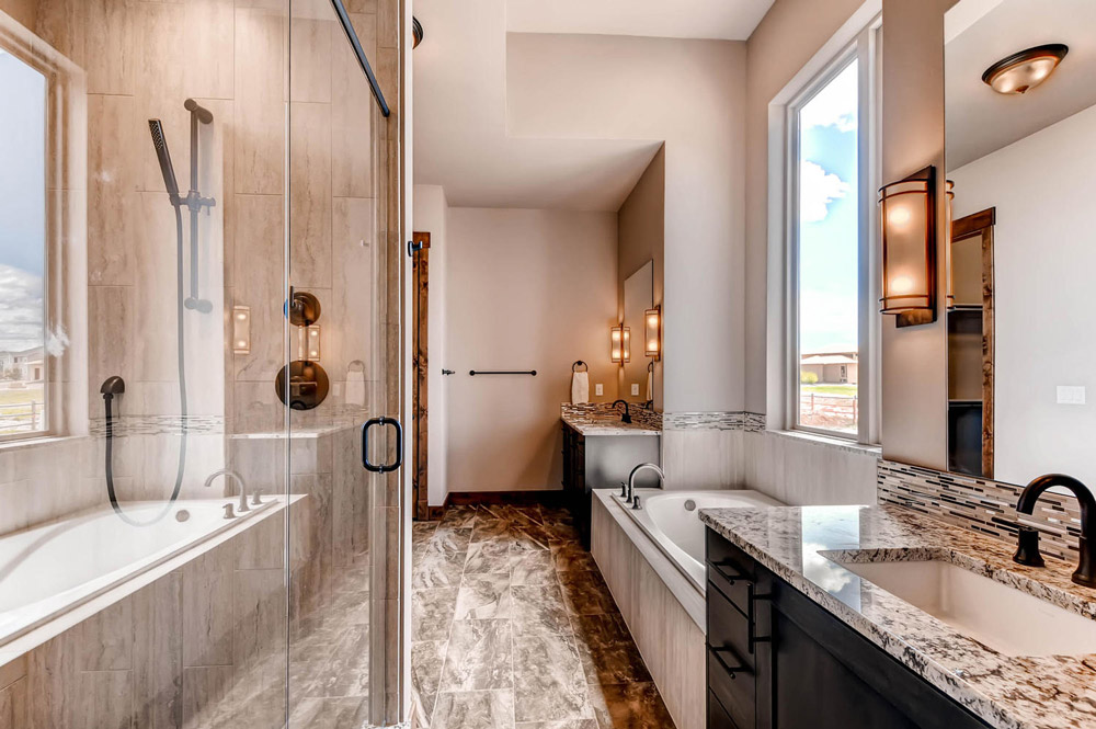 Master bathroom shower and vanities