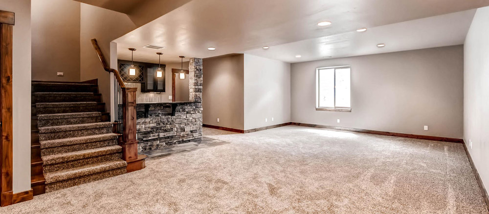 Basement stairs and wet bar