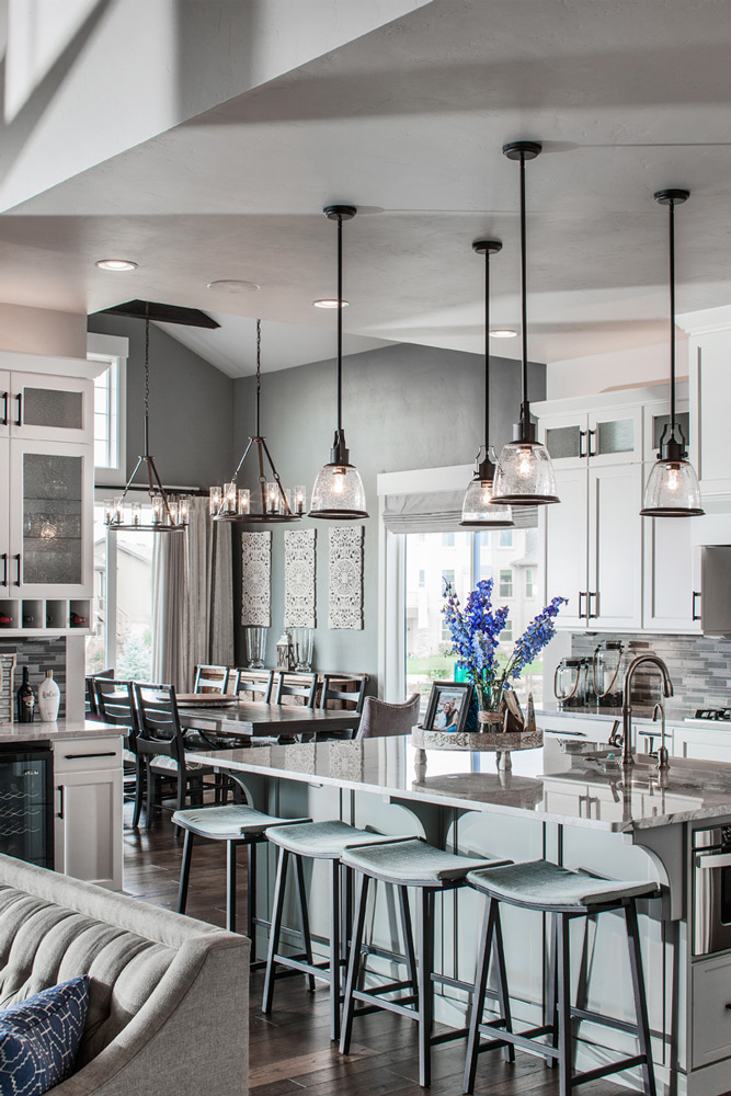 Interior image, Kitchen lighting and island detail